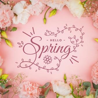 Bonjour lettrage de printemps avec concept photo
