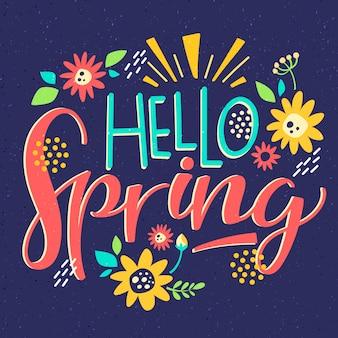 Bonjour lettrage de printemps avec une décoration colorée