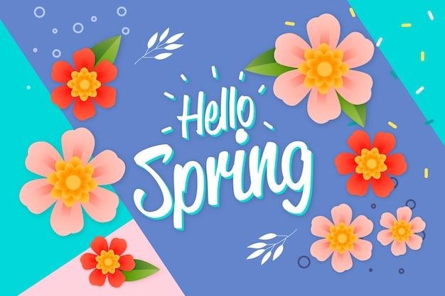 Bonjour lettrage de printemps avec décoration multicolore