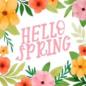 Bonjour lettrage de printemps avec décoration