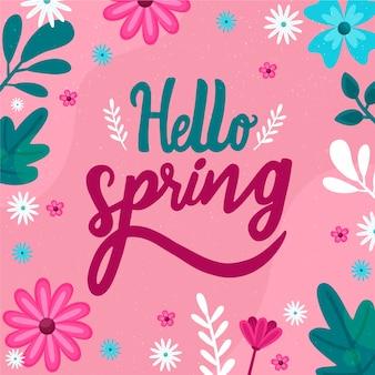 Bonjour lettrage de printemps avec un design de décoration