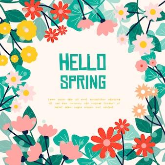 Bonjour lettrage de printemps entouré de fleurs