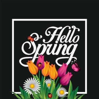 Bonjour lettrage de printemps avec des insectes mignons papillons fleurs conception de typographie plate dessinée à la main