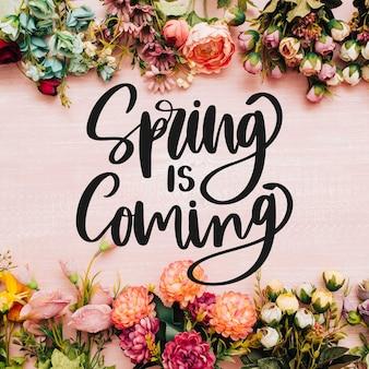 Bonjour lettrage de printemps avec photo