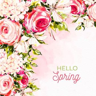 Bonjour lettrage de printemps avec des roses aquarelles rouges