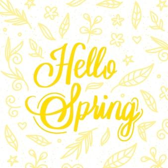 Bonjour lettrage de printemps avec salutation