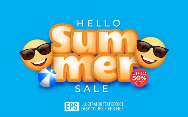 Bonjour lettrage de vente d'été avec des emojis portant des lunettes de soleil effet de style modifiable