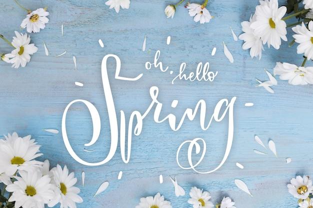 Bonjour lettrage de vente de printemps avec photo