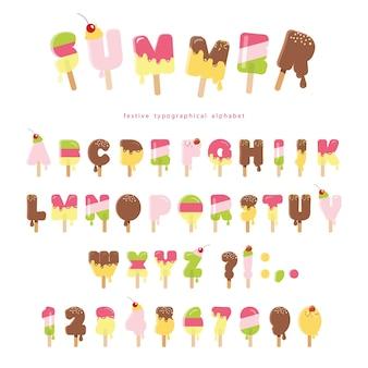 Bonjour les lettres de crème glacée d'été isolés sur blanc.