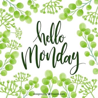Bonjour lundi arrière-plan avec des feuilles d'aquarelle