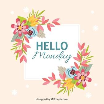 Bonjour lundi fond floral
