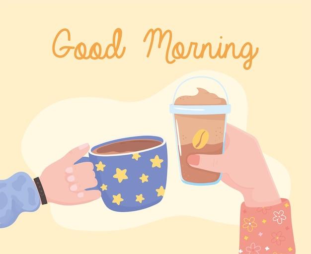 Bonjour, mains avec frappe et tasse de café, illustration de boisson fraîche chaude et froide
