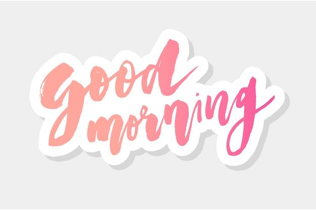 Bonjour matin lettrage calligraphie vecteur texte typographie