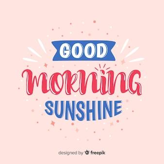 Bonjour matin lettrage style dessiné à la main