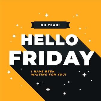 Bonjour message de vendredi avec des éléments brillants