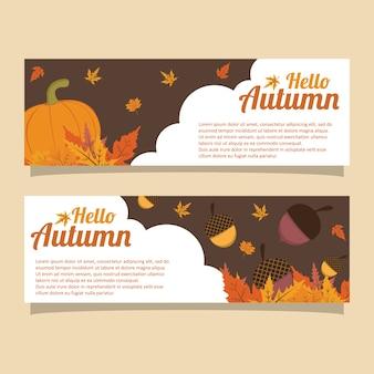 Bonjour modèle de bannière automne gland citrouille