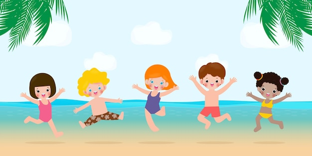 Bonjour modèle de bannière d'été groupe d'enfants sautant sur la plage à l'heure d'été détente des enfants au bord de la mer temps de salon à la mer vacances dessin animé plat sur fond