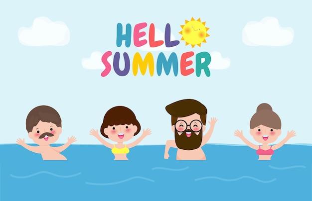 Bonjour modèle de bannière d'été personnes nageant sur les vagues groupe de personnes s'amusant sur la plage