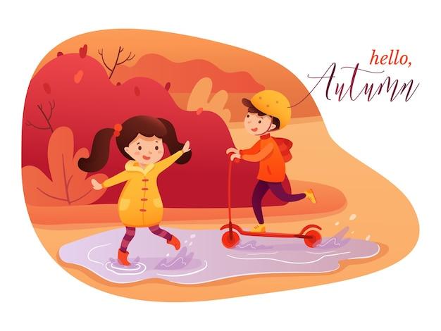 Bonjour modèle de bannière plat automne, fille éclaboussant dans la flaque d'eau et garçon équitation personnages de dessins animés de scooter, concept d'affiche de saison d'automne, petits enfants jouant ensemble illustration