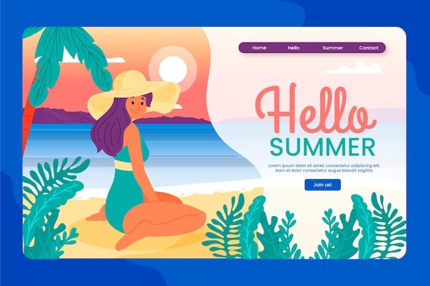 Bonjour modèle de page de destination de conception plate d'été