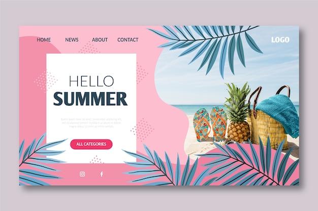 Bonjour modèle de page de destination d'été