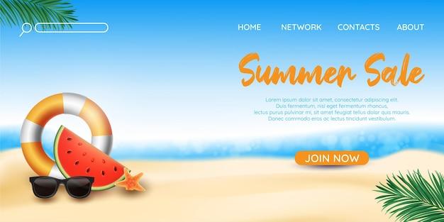Bonjour modèle de page de destination des soldes d'été