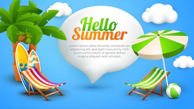 Bonjour modèle de paysage de bannière d'été avec élément 3d mignon