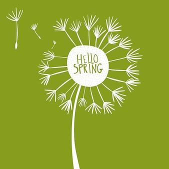 Bonjour les mots de printemps en pissenlit blanc