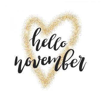Bonjour novembre lettrage citation