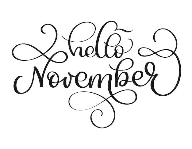 Bonjour novembre texte dessiné à la main. lettrage de calligraphie de vecteur illustration d'encre. brosse moderne isolé sur fond blanc