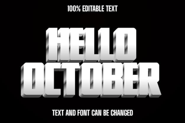 Bonjour octobre effet de texte modifiable dans un style moderne