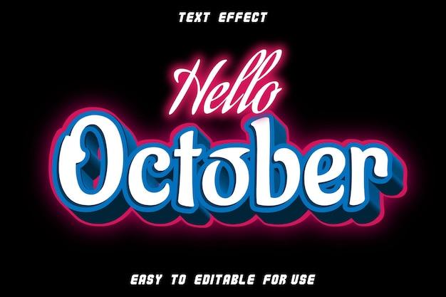 Bonjour octobre effet de texte modifiable gaufrage style néon