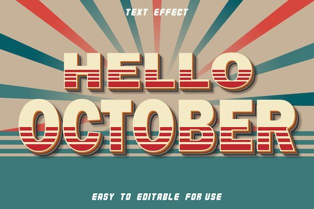 Bonjour octobre effet texte modifiable gaufrage style vintage