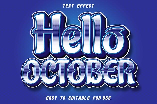 Bonjour octobre effet texte modifiable en relief style moderne