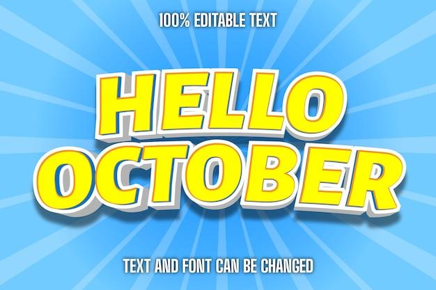 Bonjour octobre effet de texte modifiable style comique