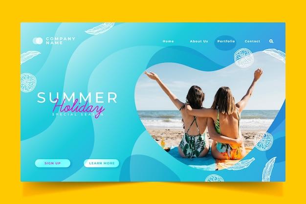 Bonjour page de destination d'été, amis heureux