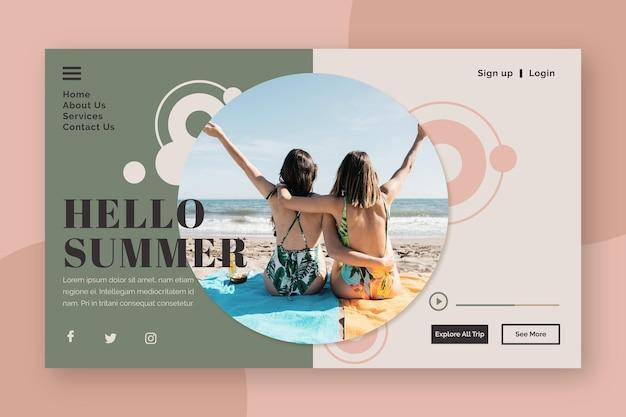 Bonjour page de destination d'été avec des femmes sur la plage