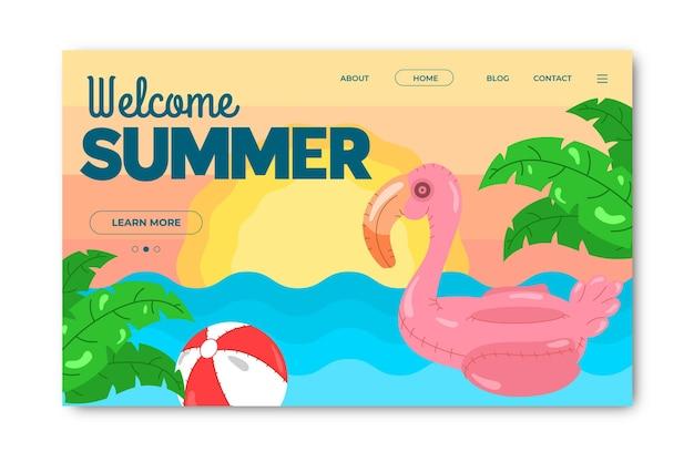 Bonjour la page de destination d'été avec flamingo