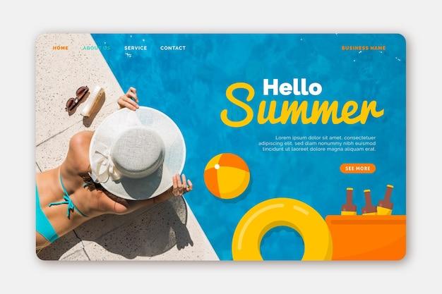Bonjour page de destination d'été avec photo