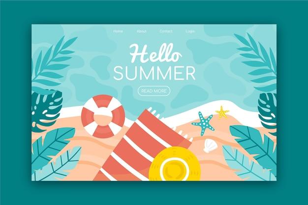Bonjour page de destination d'été avec plage et feuilles