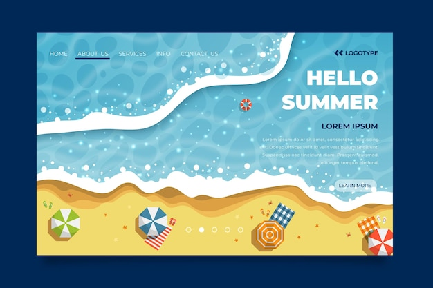 Bonjour page de destination d'été avec plage