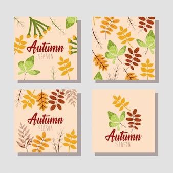 Bonjour paquet de cartes de saison d'automne