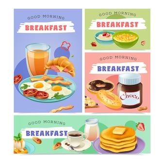 Bonjour petit déjeuner bannières isolées sertie de collection de nourriture