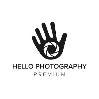 Bonjour photographie logo icône modèle vectoriel
