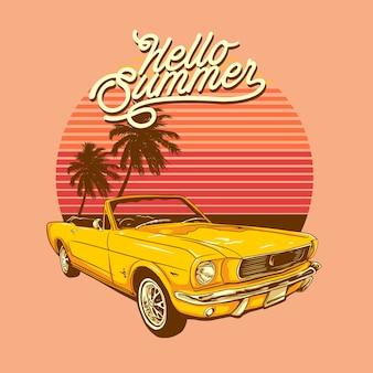 Bonjour plage tropicale d'été et illustration de voiture