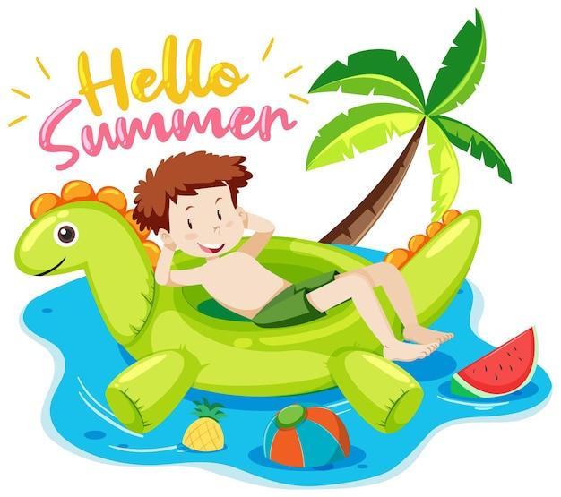 Bonjour la police d'été avec un garçon et des articles de plage isolés