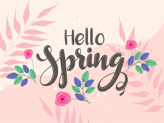 Bonjour police de printemps avec des fleurs roses et des feuilles sur rose pêche