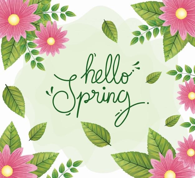 Bonjour printemps avec cadre de fleurs et feuilles