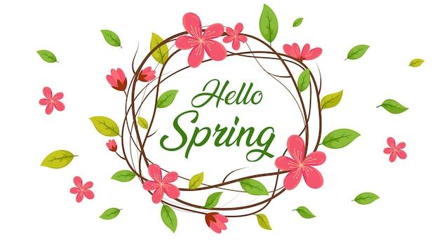 Bonjour printemps cercle, fond de vente de printemps, bannière de printemps