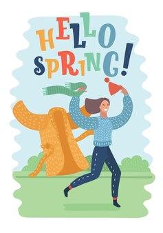 Bonjour printemps citation jolie fille rêveuse romantique avec des cheveux longs vecteur dessiné à la main